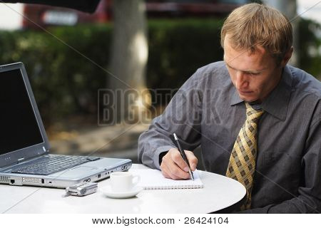businessman work in cafe