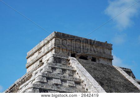 Closeup Of Top Of Mayan Pyramid