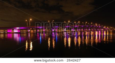 Panoramic Night View Of Miami Bridge To South Beach