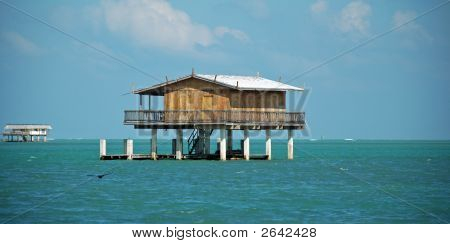 Wooden Stilt House In Stiltsville Florida