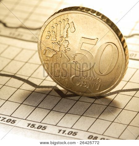 euro cent on newspaper chart