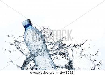 plastic bottle in water splash