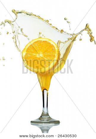 orange fall in juice glass