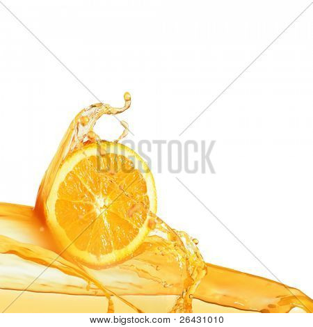 orange slice in juice stream