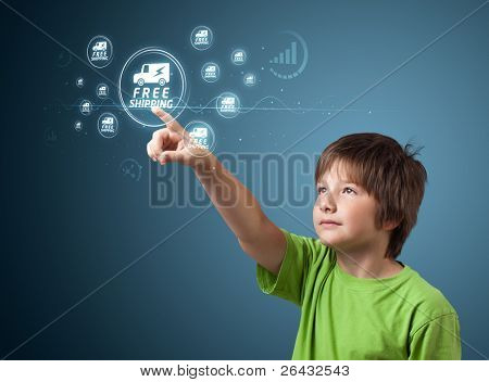 young kid pressing promotion and shipping type of modern buttons