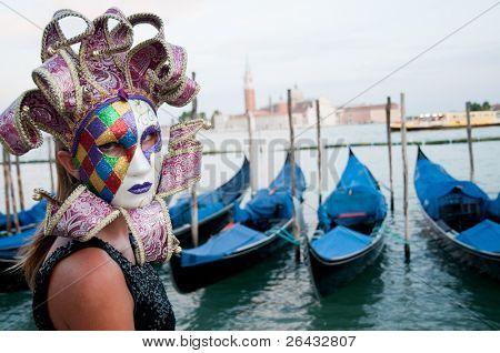 Venice, Italy - Carnival. Gondolas and San Giorgio Maggiore church in background