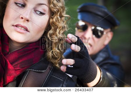 Pretty Young Teen Girl with Mysterious Strange Man Reaching to Grab Her.