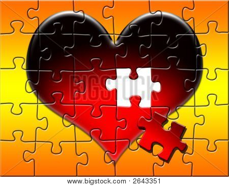 Red Heart Puzzle With Piece Missing