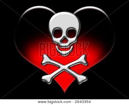 Metallic Skull On Heart