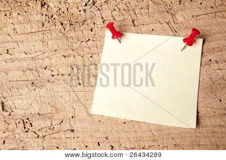 Empty or blank notepad on a vintage wooden board