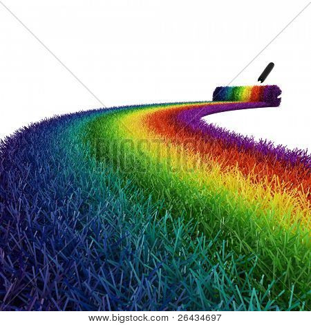 3d colorful grass on white background