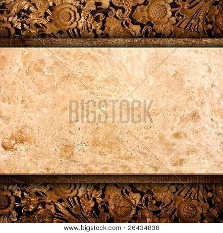 marble on wood background