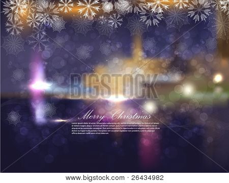 Christmas night city with snowflakes and bokeh. Abstraction a vector a background