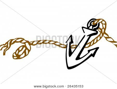 ship anchor drawing on white background, vector illustration