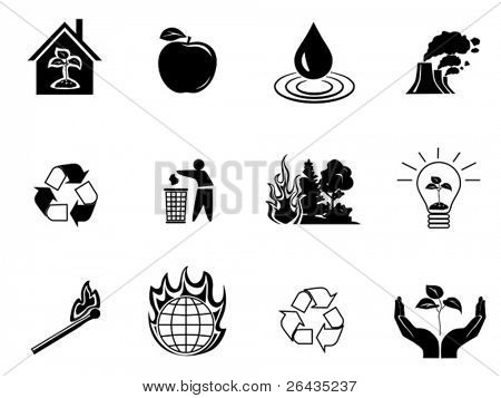Black environment protection icons set