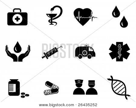 vector set of black medical icons