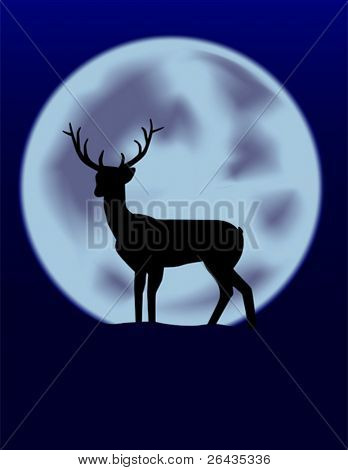 vector of reindeer with full moon