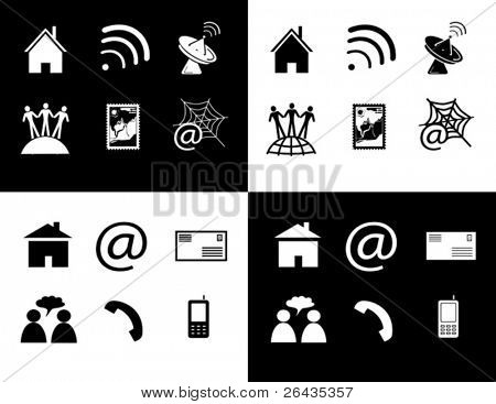 vector of black and white icon set of telecommunications