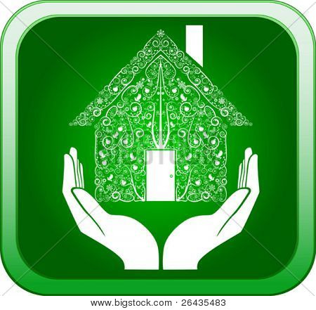 Vector of hands holding home