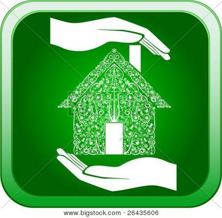 Vetor de verde casa em mãos abertas