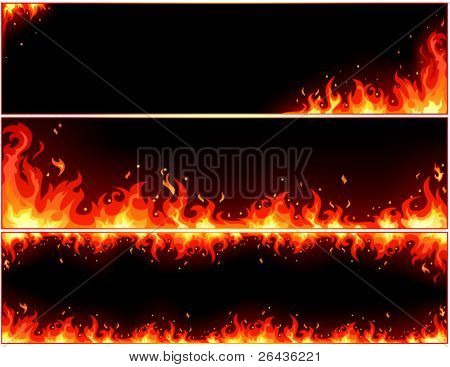 vector of fire banner set
