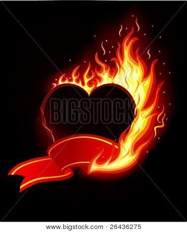 Vetor de coração em chamas