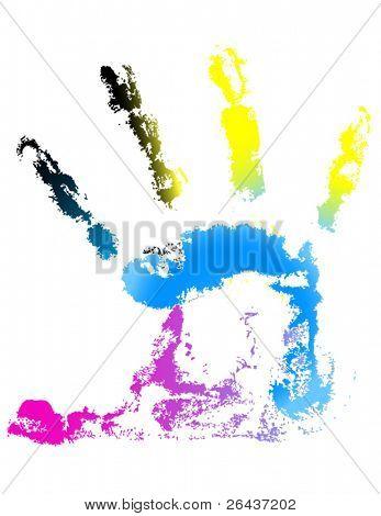 CMYK handprint vector