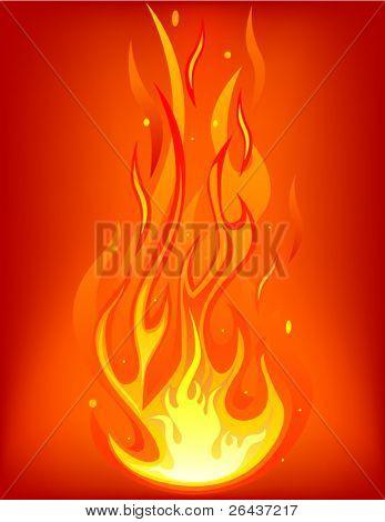 Fuego sobre un fondo rojo