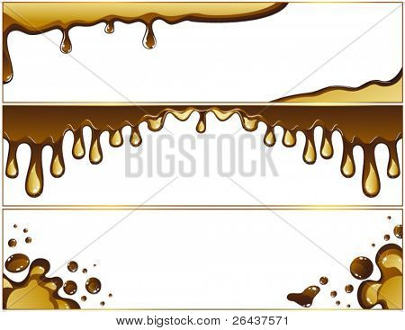 Set of milk melted chocolate banners