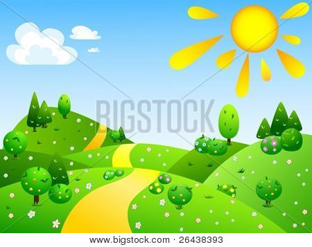 Vector of summer landscape with green hills
