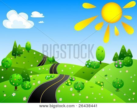 Vector of summer landscape with country road