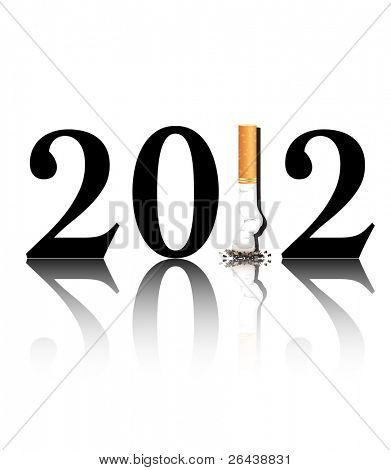 New Year's resolution Quit Smoking concept with the i in 2012 being replaced by a stubbed out cigarette. EPS10 vector format.
