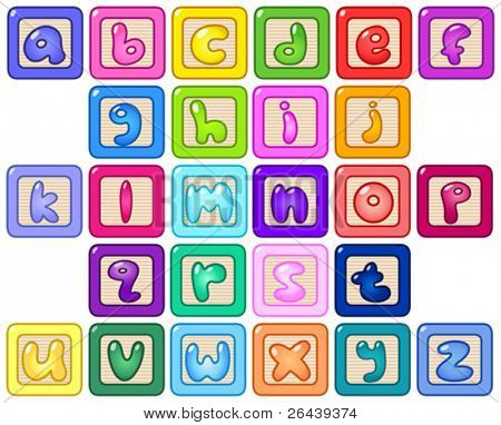 Colorful lower case alphabet blocks