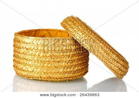 decorative empty wicker basket with lid isolated on white