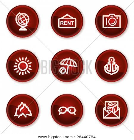 Travel web icons set 5, dark red circle buttons