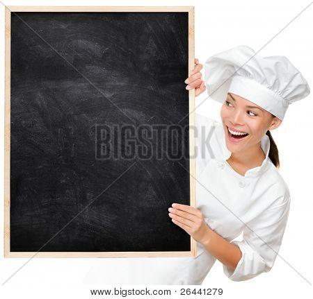 Chef Ergebnis leere Menü Schild Tafel. Frau Koch oder Bäcker glücklich und aufgeregt tragen Chef suchen