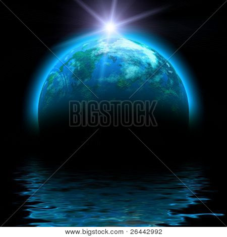 sun rise and planet illustration with reflections