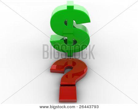 Dollar question mark 3d