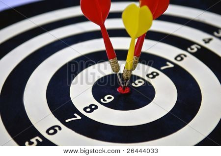 Direct hit bulls eye. Business performance concept