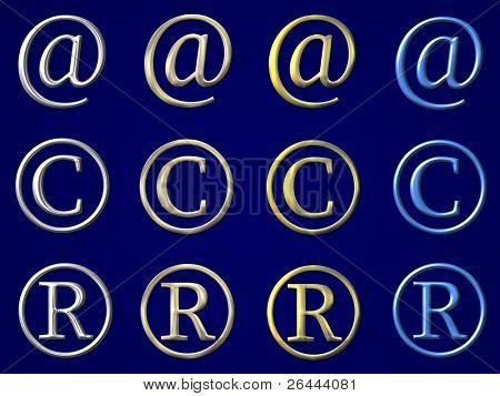 email, copyright,  registered symbols with gold, silver and ice bevel - 12 in 1
