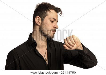 Portrait Of A Man Looking At His Watch