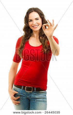 Beautiful Woman Making An Ok Sign