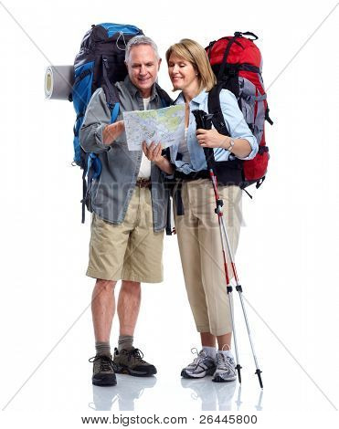 Tourist. Senior Couple Wandern. isolated on white Background.