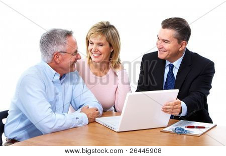 Senior couple with a professional financial adviser. Isolated on white background.