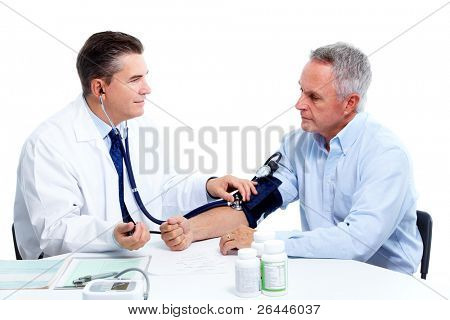 Blood pressure measuring. Doctor and patient.  Isolated on white background. Health care.