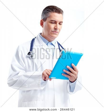Smiling doctor with tablet computer. Isolated over white background. Health care.