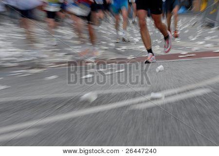 Marathon racer at the Hamburg Marathon 2006 in germany, europe. Motion effect from the original shot.