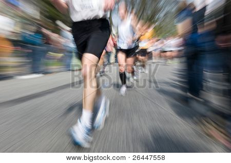 Marathon racer. Blur from the original shot