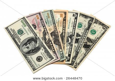 Dollar bills from 1 to 100 including a 2 dollar bill isolated on white background