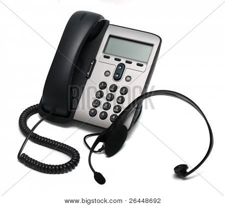 IP Phone and a headset isolated on white background